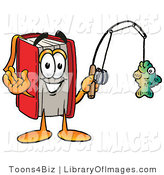 Clip Art of a Sporty Red Book Mascot Cartoon Character Holding a Fish on a Fishing Pole by Toons4Biz