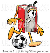 Clip Art of a Sporty Red Book Mascot Cartoon Character Kicking a Soccer Ball by Toons4Biz