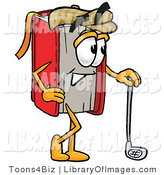 Clip Art of a Sporty Red Book Mascot Cartoon Character Leaning on a Golf Club While Golfing by Toons4Biz