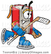 Clip Art of a Sporty Red Book Mascot Cartoon Character Playing Ice Hockey by Toons4Biz