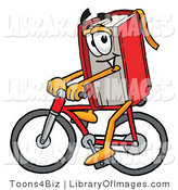 Clip Art of a Sporty Red Book Mascot Cartoon Character Riding a Bicycle by Toons4Biz