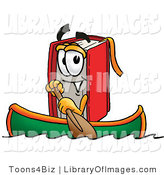 Clip Art of a Sporty Red Book Mascot Cartoon Character Rowing a Boat by Toons4Biz