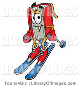 Clip Art of a Sporty Red Book Mascot Cartoon Character Skiing Downhill by Toons4Biz