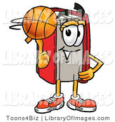 Clip Art of a Sporty Red Book Mascot Cartoon Character Spinning a Basketball on His Finger by Toons4Biz