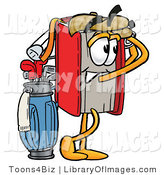 Clip Art of a Sporty Red Book Mascot Cartoon Character Swinging His Golf Club While Golfing by Toons4Biz