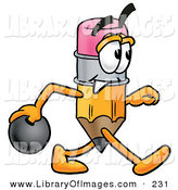 Clip Art of a Sporty Yellow Pencil Mascot Cartoon Character Holding a Bowling Ball by Toons4Biz