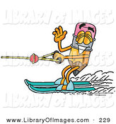 Clip Art of a Sporty Yellow Pencil Mascot Cartoon Character Waving While Water Skiing by Toons4Biz
