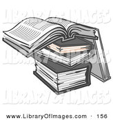 Clip Art of a Stack of Books, One Open on Top by Leo Blanchette