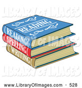 Clip Art of a Stack of Colorful Reading, Spelling and Writing School Books Textbooks by Andy Nortnik