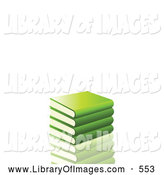 Clip Art of a Stack of Green School Library Books Resting on a Reflective Surface by Elaineitalia