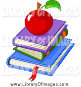 January 26th, 2014: Clip Art of a Stack of School Books and a Red Apple by Pushkin
