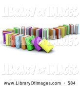 Clip Art of a Standing Row of Colorful Domino Books Collapsing by KJ Pargeter
