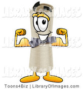 Clip Art of a Strong Diploma Mascot Cartoon Character Flexing His Arm Muscles by Toons4Biz