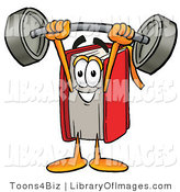 Clip Art of a Strong Red Book Mascot Cartoon Character Holding a Heavy Barbell Above His Head by Toons4Biz