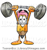 Clip Art of a Strong Yellow Pencil Mascot Cartoon Character Holding a Heavy Barbell Above His Head by Toons4Biz
