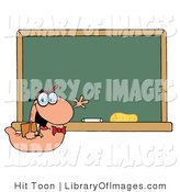 Clip Art of a Student Bookworm Smiling and Waving by a Classroom Chalkboard by Hit Toon