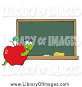 Clip Art of a Student Worm in an Apple by a School Chalkboard by Hit Toon