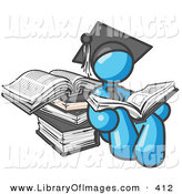 Clip Art of a Successful Light Blue Male Student in a Graduation Cap, Reading a Book and Leaning Against a Stack of Books by Leo Blanchette