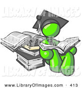 Clip Art of a Successful Lime Green Male Student in a Graduation Cap, Reading a Book and Leaning Against a Stack of Books by Leo Blanchette