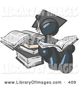 Clip Art of a Successful Navy Blue Student in a Graduation Cap, Reading a Book and Leaning Against a Stack of Books by Leo Blanchette