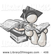 Clip Art of a Successful White Male Student in a Graduation Cap, Reading a Book and Leaning Against a Stack of Books by Leo Blanchette