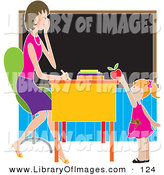 Clip Art of a Sweet or Brown Nosing Red Haired School Girl Child Standing in Front of Her Female Teacher's Desk in a Classroom, Putting a Red Apple on the Desk by Maria Bell