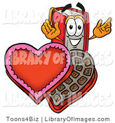 Clip Art of a Sweet Romantic Red Book Mascot Cartoon Character with an Open Box of Valentines Day Chocolate Candies by Toons4Biz