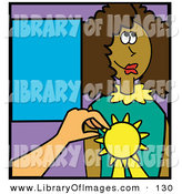 Clip Art of a Teacher Giving a Happy African American Girl an Award for an Educational Feat by Andy Nortnik