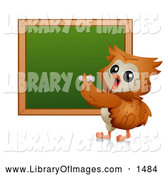 Clip Art of a Teacher Owl Writing on a Chalk Board by BNP Design Studio