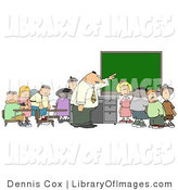Clip Art of a Teacher Pointing to the Chalkboard for His Elementary Students in Classroom by Djart