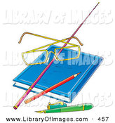 Clip Art of a Teachers Glasses Resting on a Pointer Stick on a Blue Book, with a Pencil and Pen by Alex Bannykh