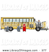 Clip Art of a Team of Mechanics Working on the Engine of a Broken down Yellow School Bus on White by Djart