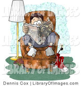 Clip Art of a Teenage Boy with Holey Socks Sitting on a Living Room Chair While Reading a Book by Djart