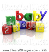 Clip Art of a the Colorful Word Baby Behind Number and Alphabet Toy Blocks on a Reflective White Surface on White by KJ Pargeter