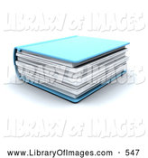 Clip Art of a Thick Blue Text Book on White by KJ Pargeter