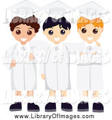Clip Art of a Three Happy Male School Graduates in Caps and Gowns by BNP Design Studio