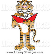 Clip Art of a Tiger Reading a Book by Toons4Biz