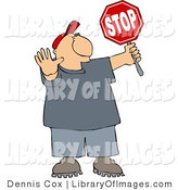 Clip Art of a Traffic Control Man Holding up a Stop Sign so Pedestrians Can Cross the Street by Djart