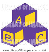 Clip Art of a Trio of Blocks in a Nursery Room with the Letters A, B and C by Andy Nortnik