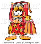 Clip Art of a Vacationing Red Book Mascot Cartoon Character in Orange and Red Snorkel Gear by Toons4Biz