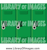 Clip Art of a Wall of Green School Lockers by Pams Clipart