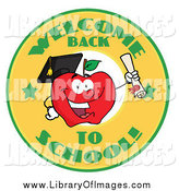 October 10th, 2014: Clip Art of a Welcome Back to School Swaufb and Student Apple Holding a Diploma by Hit Toon