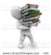 Clip Art of a White Character Man Carrying a Heavy Stack of School or Library Books by KJ Pargeter