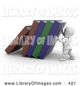 Clip Art of a White Character Man Holding up Library or School Books by KJ Pargeter