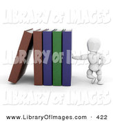 Clip Art of a White Character Man Leaning Against a Row of Library Books by KJ Pargeter