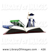 April 9th, 2013: Clip Art of a White Character Man Teacher in a Cap and Gown, Waving a Cane and Standing on Top of an Open School Book by KJ Pargeter