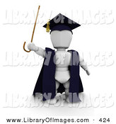 Clip Art of a White Character Man Teacher in a Cap and Gown, Waving a Cane by KJ Pargeter