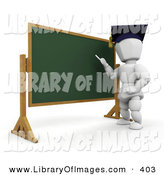 Clip Art of a White Character Person Teacher Wearing a Graduation Cap, Standing in Front of a Chalkboard and Teaching a Class by KJ Pargeter
