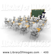 March 8th, 2013: Clip Art of a White Character Teacher Man in a Cap and Gown, Pointing to a Blank Chalkboard While Teaching a Full Class of School Students by KJ Pargeter