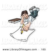 Clip Art of a White Elementary School Boy Lying on His Stomach and Doing Homework or Drawing by Leo Blanchette